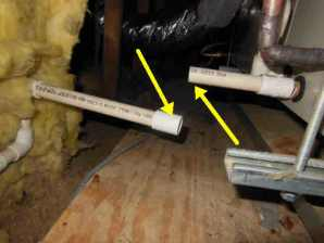 Here is a condensate line disconnected from the air handler of the attic unit. Luckily for the buyer this was an easy repair before any severe water damage was caused.
